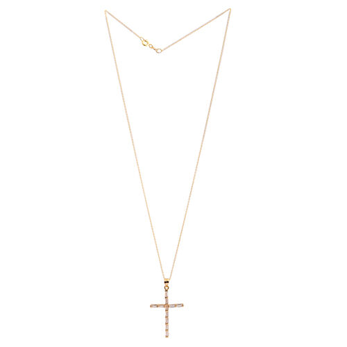 ELANZA AAA Simulated Diamond (Bgt) Cross Pendant with Chain in Yellow Gold Overlay Sterling Silver