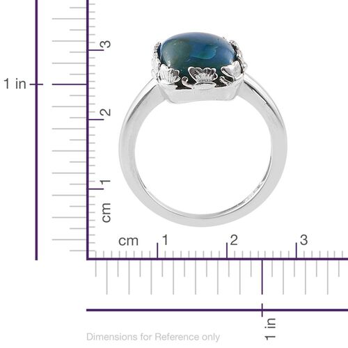 Natural Rare Opalina (Cush) Solitaire Ring in Platinum Overlay Sterling Silver 5.000 Ct. Silver wt 3.70 Gms.