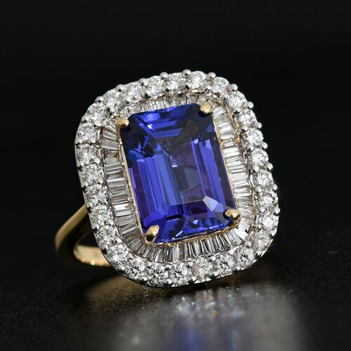 ILIANA 18K Yellow Gold 6.75 Carat AAAA Octagon Tanzanite Ring With Diamond SI G-H