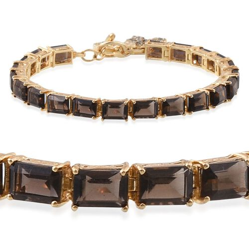 Brazilian Smoky Quartz (Oct), Swiss Marcasite Bracelet (Size 7.5) in 14K Gold Overlay Sterling Silver 17.750 Ct.