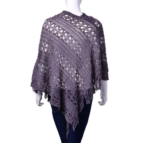 Grey Colour Poncho with Tassel (Size 50 Cm)