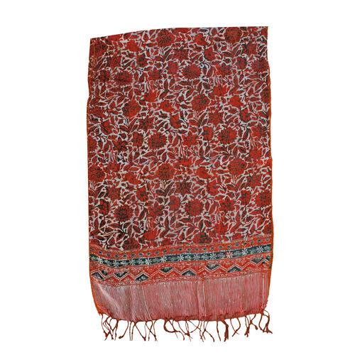 Orange Colour Flower Printed Original Silk Scarf (Size 150x45 Cm)