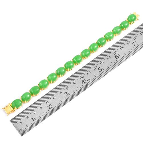 Preview Auction - Burmese Green Jade (Ovl) Bracelet (Size 7.75) and Stud Earrings (with Push Back) in Yellow Gold Overlay Sterling Silver 104.750 Ct.