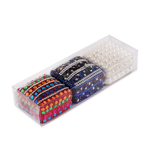 Set of 3 - Multi Colour Beads Embellished Dark Blue, Red and White Colour Square Shape Bling Box (Size 7X3 Cm)