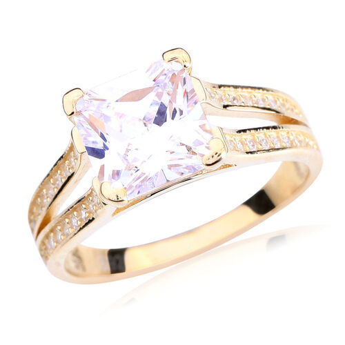 ELANZA AAA Simulated White Diamond Ring in 14K Gold Overlay Sterling Silver