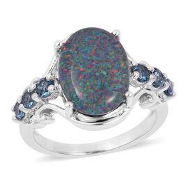 Rare Size Australian Boulder Opal (Ovl 14X10 mm), London Blue Topaz Ring in Rhodium Overlay Sterling Silver