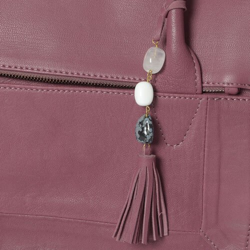 100% Genuine Leather RFID Blocker Burgundy Colour Handbag with Gemstone Adorned Tassel Charm (Size 32X25X8 Cm)