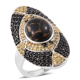 Mojave Black Turquoise (Ovl 4.60 Ct), Boi Ploi Black Spinel and Yellow Sapphire Ring in Platinum Overlay Sterling Silver 7.250 Ct.