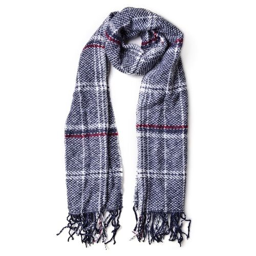 Close Out Deal-Navy and Red Colour Checks Pattern Scarf with Tassels (Size 90X66 Cm)