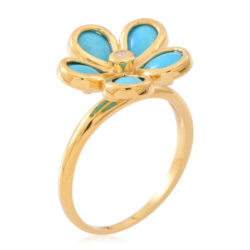 Arizona Sleeping Beauty Turquoise (Pear), White Zircon Floral Ring in 14K Gold Overlay Sterling Silver 2.750 Ct.
