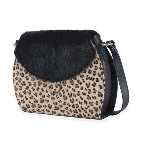 Stella Genuine Leather Leopard Pattern Black and White Colour Shoulder Bag (Size 27x20 Cm)