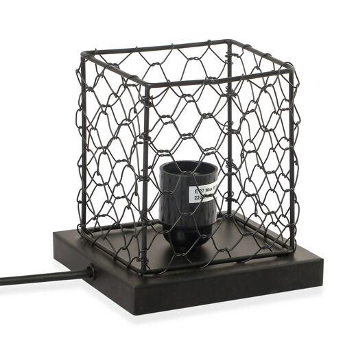 Natural Pink Himalayan Rock Salt Basket Lamp - With 1.6KG Salt Bag - Cube