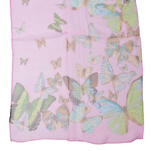 100% Mulberry Silk Green and Blue Colour Butterfly Pattern Pink Colour Scarf (Size 170x50 Cm)