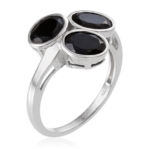 Boi Ploi Black Spinel (Ovl) Trilogy Ring in Platinum Overlay Sterling Silver 4.750 Ct.