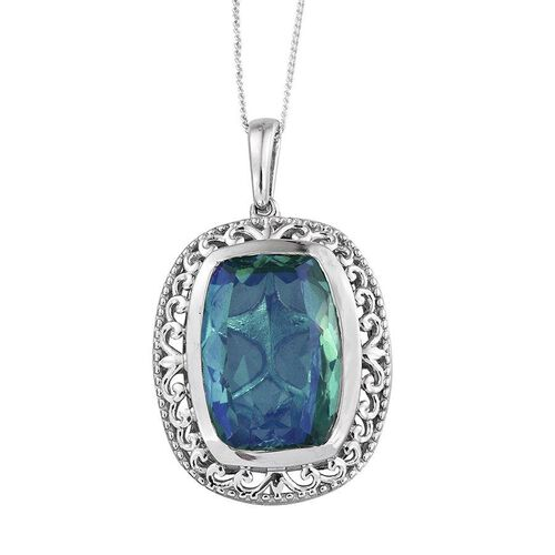Peacock Quartz (Cush) Pendant With Chain Platinum Overlay Sterling Silver 14.000 Ct.
