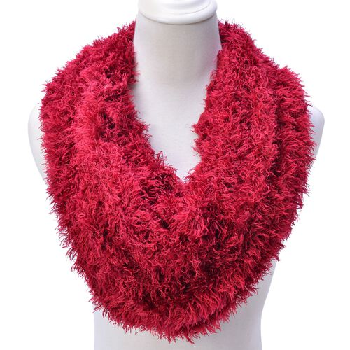 Red Colour Woven Scarf (Size 140x10 Cm)