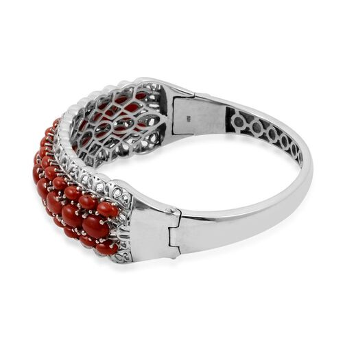 Natural Mediterranean Coral (Ovl) Bangle in Platinum Overlay Sterling Silver (Size 7.5) 14.500 Ct.