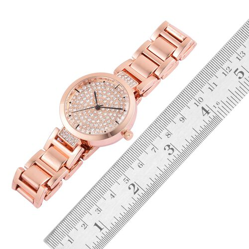 GENOA Japanese Movement White Austrian Crystal Studded Dial Water Resistant Watch in Rose Gold Tone with Stainless Steel Back and Chain Strap