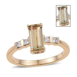 ILIANA 18K Yellow Gold AAA Turkizite (Octagon 1.00 Ct), Diamond (SI G-H) Ring 1.205 Ct.