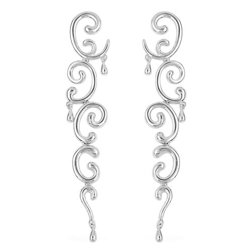 LucyQ Air Earrings (with Push Back) in Rhodium Plated Sterling Silver 17.15 Gms.