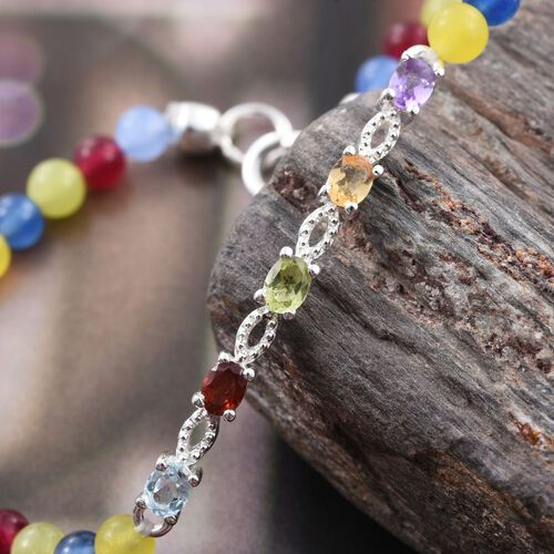 New Concept-Sky Blue Topaz, Mozambique Garnet, Amethyst, Citrine, Hebei Peridot and Multi Colour Quartzite Bracelet (Size 7.5) in Sterling Silver 16.380 Ct. Silver wt. 3.25 Gms.