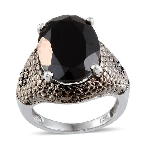 Boi Ploi Black Spinel (Ovl 10.00 Ct), Black Diamond Ring in Platinum Overlay Sterling Silver 10.050 Ct.