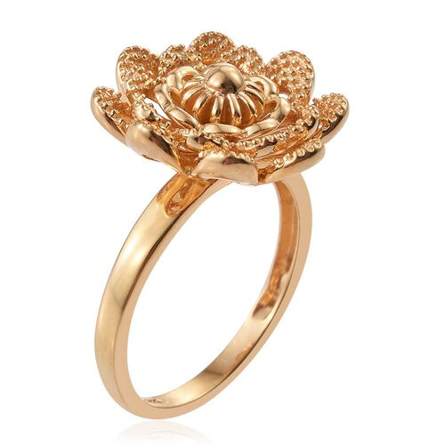 Silver Flower Ring in Gold Overlay