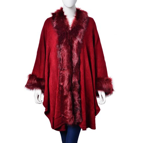 New Season - Designer Inspired - Super Soft Burgundy Bordeaux Colour Longer Line Kimono Cape with Faux Fur on Edges (Free Size)