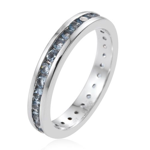 RHAPSODY 950 Platinum 1 Carat Santa Maria Aquamarine Full Eternity Band Ring.