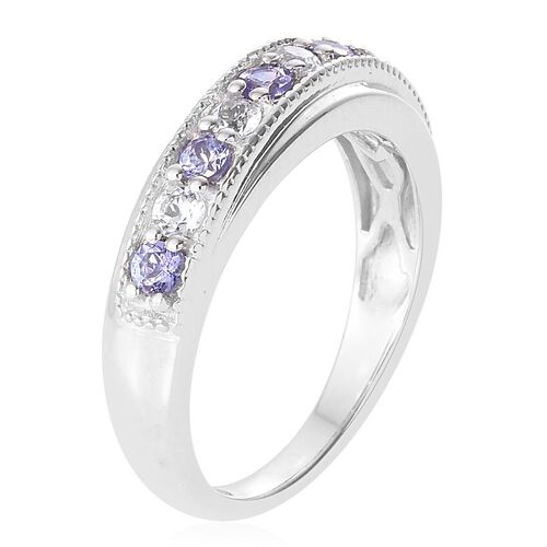 Tanzanite and White Topaz 0.58 Ct Silver Half Eternity Band Ring in Platinum Overlay