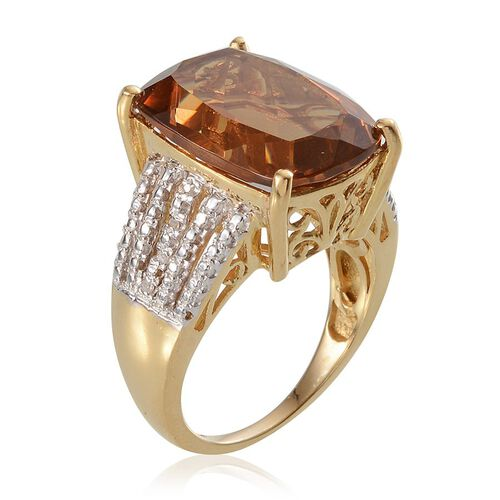 Alexite (Cush 13.00 Ct), Diamond Ring in 14K Gold Overlay Sterling Silver 13.070 Ct.