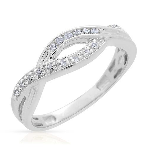 9K White Gold 0.10 Carat Diamond (Rnd) Infinity Ring SGL Certified (I3/G-H)