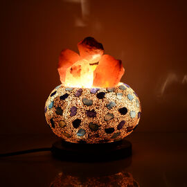 Option-2 Home Decor - Handcrafted Mosaic Electric Lamp with Natural Himalayan Rock Salt (1.6Kg) - White and Blue