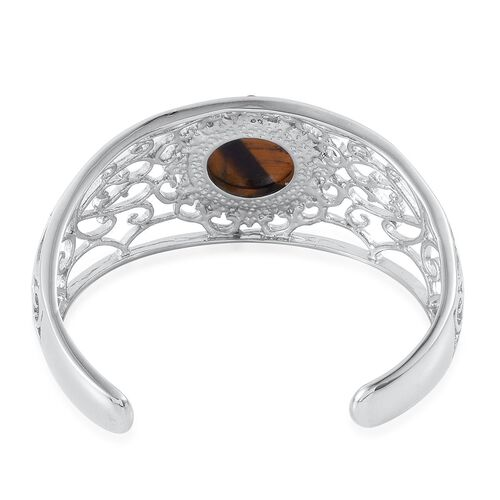 Tigers Eye Cuff Bangle (Size 7) in Silver Tone 25.000 Ct.