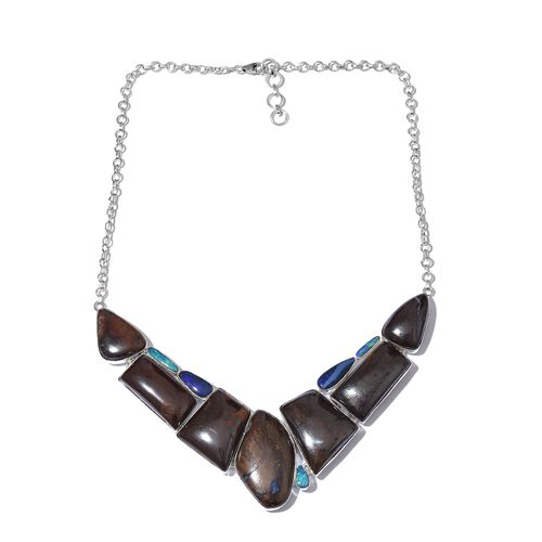One Off A Kind- Boulder Opal Rock and Opal Double Necklace (Size 18 with 1 inch Extender) in Sterling Silver 255.850 Ct. Silver wt 30.33 Gms.