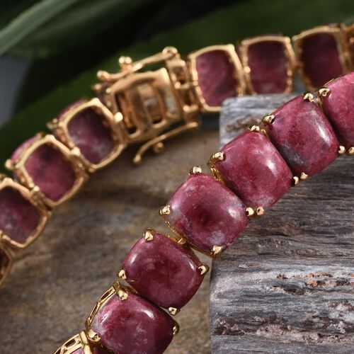 Norwegian Thulite (Cush) Tennis Bracelet (Size 7.5) in 14K Gold Overlay Sterling Silver 75.000 Ct. Silver wt 18.31 Gms.