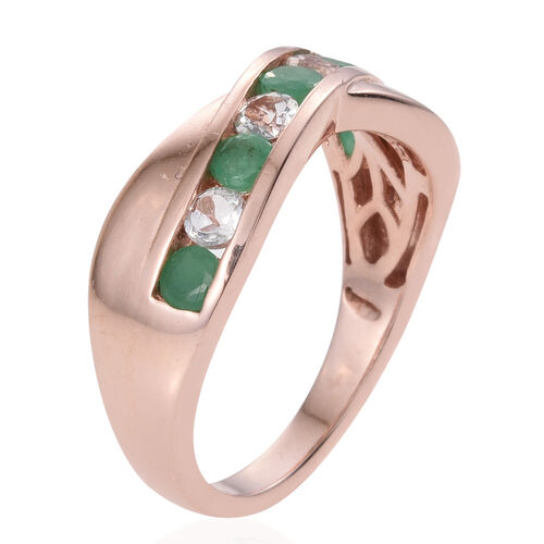 Zambian Emerald, White Topaz 1 Carat Silver Criss Cross Ring in Rose Gold Overlay