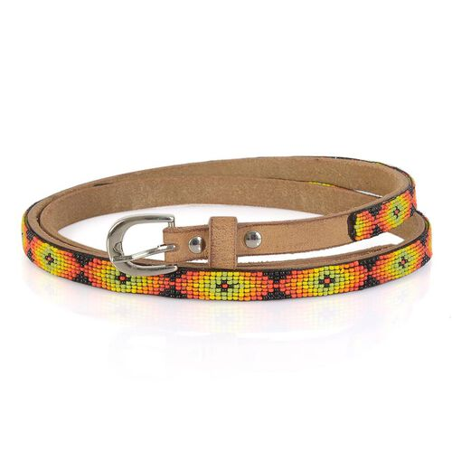 Genuine Leather Handmade Yellow, Green, Red and Multi Colour Seed Beaded Belt (Size 110x1.25 Cm)