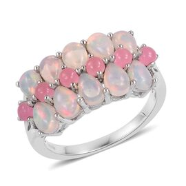 Ethiopian Welo Opal (Pear), Pink Jade Ring in Rhodium Plated Sterling Silver 4.250 Ct.