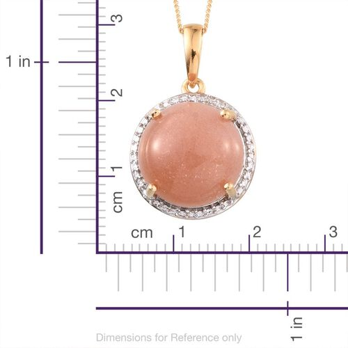 Morogoro Peach Sunstone (Rnd) Pendant With Chain in 14K Gold Overlay Sterling Silver 10.000 Ct.