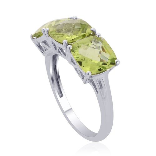 Hebei Peridot (Cush) Trilogy Ring in Platinum Overlay Sterling Silver 3.750 Ct.