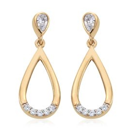 J Francis - 14K Gold Overlay Sterling Silver (Pear) Teardrop Earrings (with Push Back) Made with SWAROVSKI ZIRCONIA