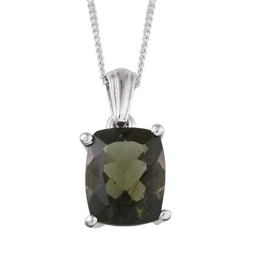 Bohemian Moldavite (Cush) Solitaire Pendant With Chain in Platinum Overlay Sterling Silver 2.000 Ct.
