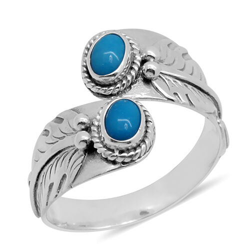 Royal Bali Collection Arizona Sleeping Beauty Turquoise (Ovl) Crossover Ring in Sterling Silver 0.740 Ct.