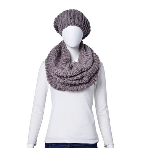 Close Out Deal-Grey Colour Braided Pattern Knitted Infinity Scarf (Size 75x32 Cm) and Hat (Size 26x24 Cm)