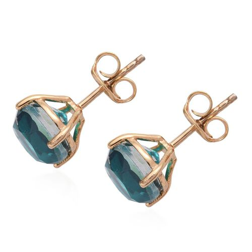 Capri Blue Quartz (Rnd) Stud Earrings (with Push Back) in 14K Gold Overlay Sterling Silver 4.500 Ct.