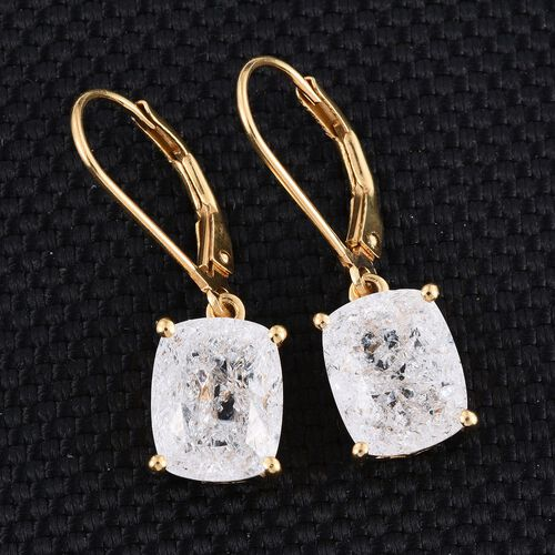Diamond Crackled Quartz (Cush) Lever Back Earrings in 14K Gold Overlay Sterling Silver 6.000 Ct.