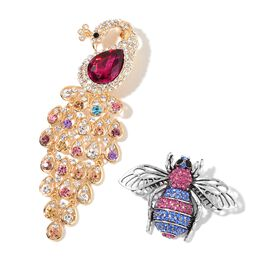 Set of 2 - Simulated Garnet and Multi Colour Austrian Crystal Peacock and Bee Brooch or Pendant with Chain (Size 20) in Yellow Gold Tone and Stainless Steel