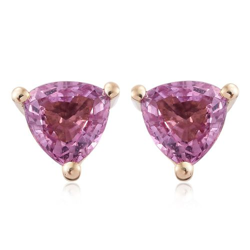 9K Yellow Gold AA Pink Sapphire (Trl) Stud Earrings (with Push Back) 1.000 Ct.