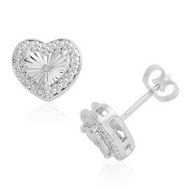 Diamond (Rnd) Stud Earrings in Silver Plated